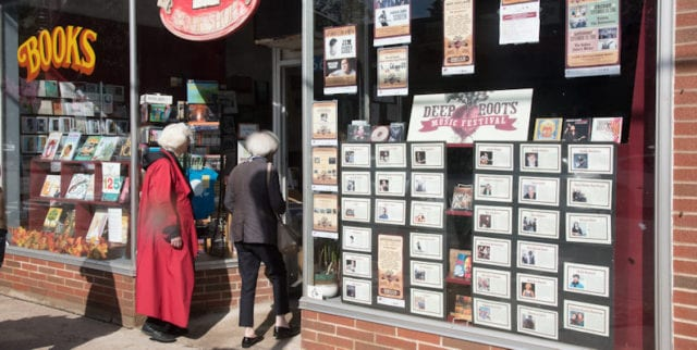 Book shop with DRMF display in window
